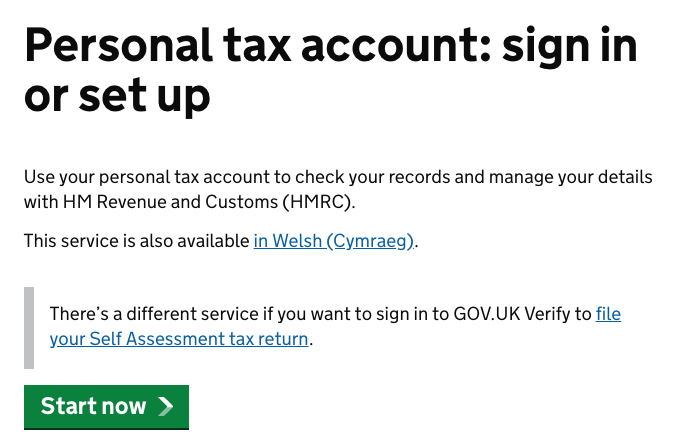 Personal tax account: sign in or set up