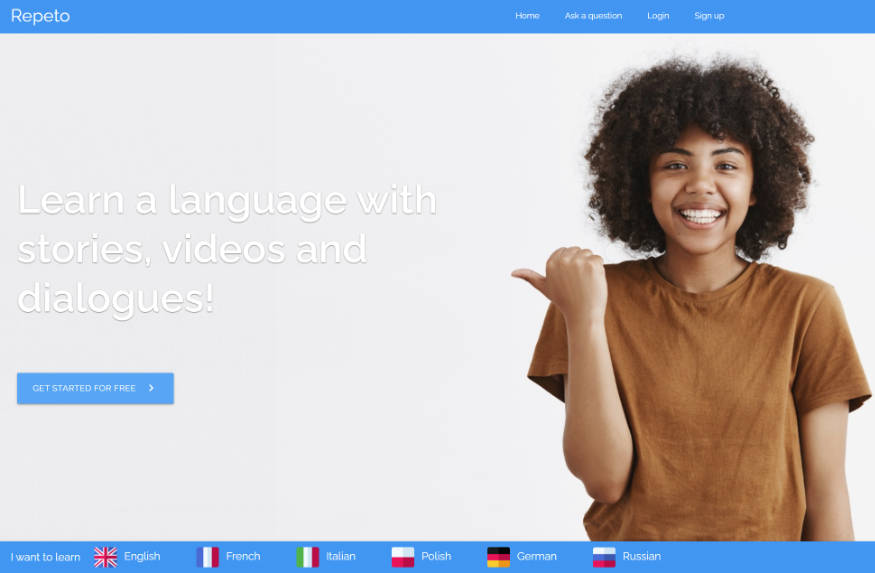 Repeto languages homepage