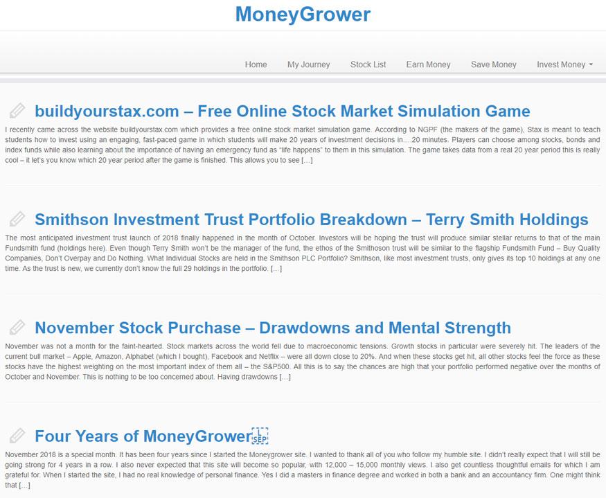 Money Grower Blog Homepage